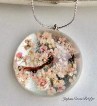 Amazing Sakura cherry blossoms crystal glass necklace