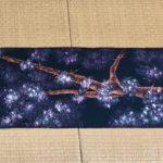 Gorgeous kimono obi belt EMAKIMONO style landscape Sakura cherry blossoms
