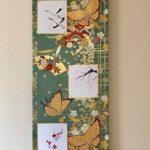 Fukuro obi Kakejiku style Japanese painting art Crane bird, Sakura, Koi fish